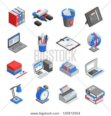 Different red blue and grey office tools for workplace isometric icons set isolated vector illustration