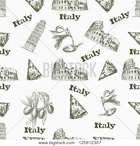 Seamless background with the image of Italy attractions
