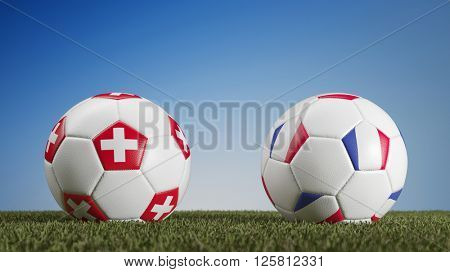 Football match Switzerland vs. France during european soccer game (3D Rendering)