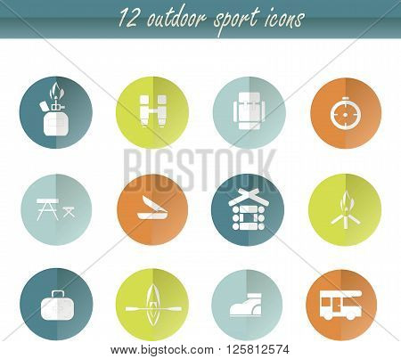 Flat round camping icons, white signs on green, orange, blue, graphics. Design element, vector