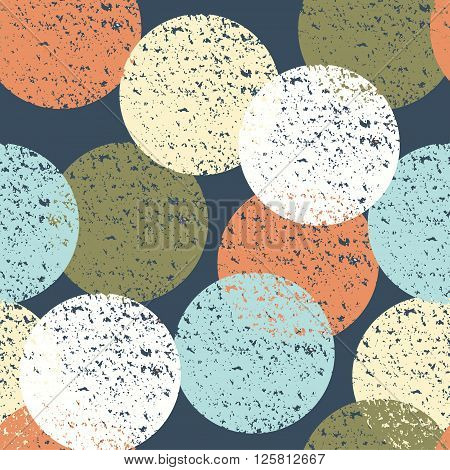 Abstract seamless pattern with colorful textured circles. Positive bright background for textile wallpaper and other surfaces.