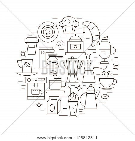 Coffee concept in vector. Set of linear icons on coffee theme. Can be used as a poster logo and other for your design.