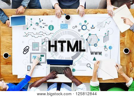 HTML Communication Interconnection Internet Networking Concept