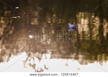 Paper Boat In The Lake
