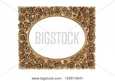 Bronze carved picture frame isolated over white with clipping path.