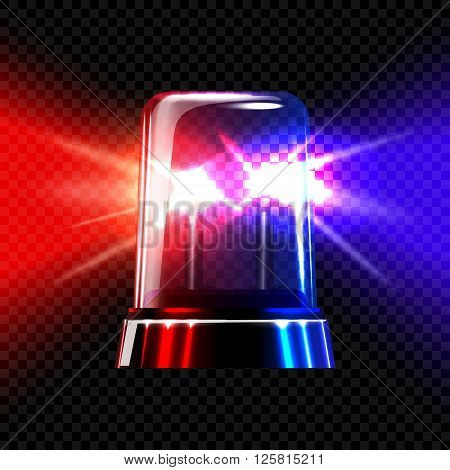 Red and blue emergency transparent flashing siren on dark plaid background. Vector illustration