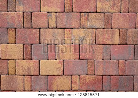 Paving blocks made of rectangular colored stones