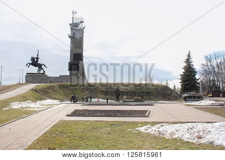 Veliky Novgorod, Russia - March 12, Monument to Soviet soldiers liberators, March 12 2016.