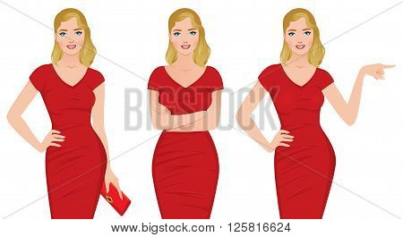 Beautiful blonde woman in a red dress in various poses Stock vector illustration