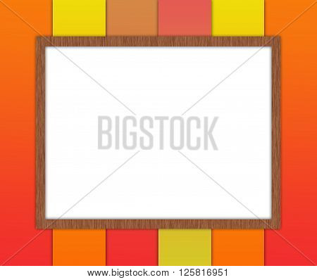 White Board in wooden frame on a bright orange striped background. Raster graphic image.