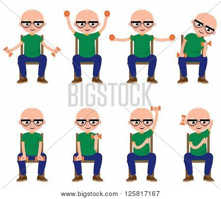 Senior man doing exercises with dumbbells sitting on a chair Stock vector illustration
