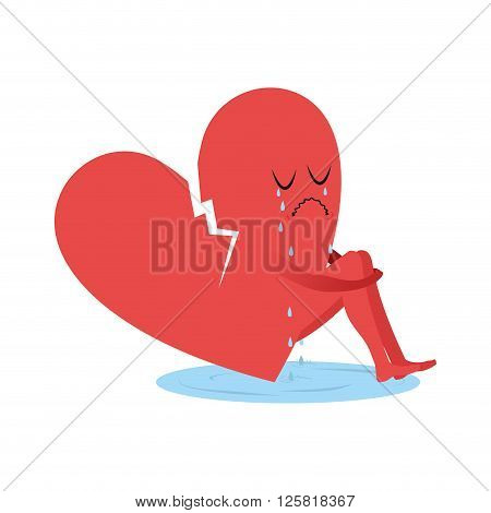 Broken Heart Is Crying. Symbol Of Love Sitting In Puddle Of Tears. Unrequited Love. Tosca And Sob. I