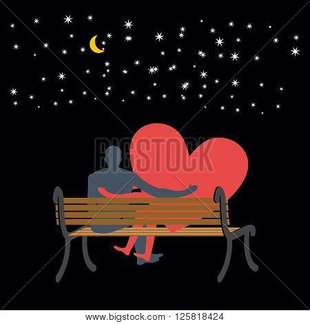 Lovers Looking At Stars. Date Night. Man And Love Sitting On Bench. Heart Symbol Of Love. Moon And S