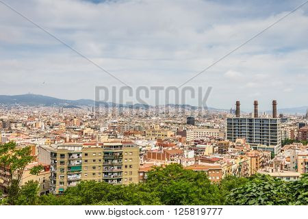 Barcelona Spain - May 18 2014: View from Montjuic over Barcelona Spain. Montjuic is a hill in Barcelona.