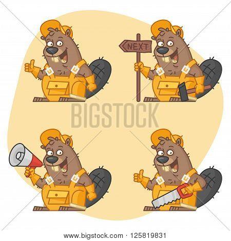 Vector illustration, Beaver Master in Different Versions Part 2, format EPS 8