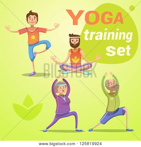 Yoga retro cartoon set with young and seniors in different poses isolated vector illustration