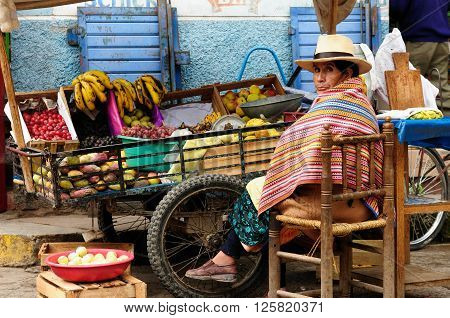 CHIQUIAN PERU - FEBRUARY 10: Indigenous Native American from Peru selling fruits from the wheelbarrow on city in South America on city streets Chiquian town in February 10 2012