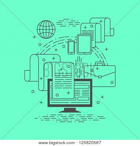 Transfer of documents via the Internet by using different devices. Business infographic. Thin line design. Vector illustration.