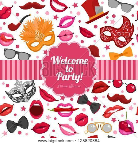 Welcome to birthday party festive invitation in red pink colors with masks and fake mustache symbols vector illustration