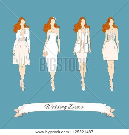 Wedding draw dresses set. Bridal vector illustration.