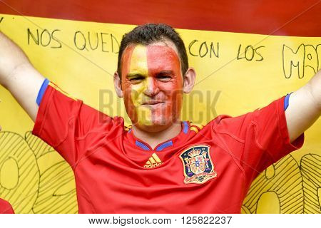 RIO DE JANEIRO BRAZIL - June 18 2014: Spain fan during the FIFA 2014 World Cup. Spain is facing Chile in the Group B at Maracana Stadium