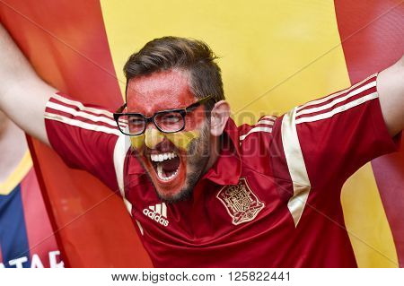 RIO DE JANEIRO BRAZIL - June 18 2014: Fan during the FIFA 2014 World Cup. Spain is facing Chile in the Group B at Maracana Stadium