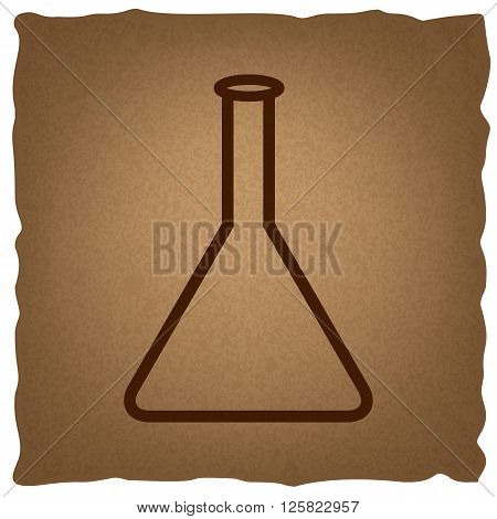Conical Flask sign. Coffee style on old paper.