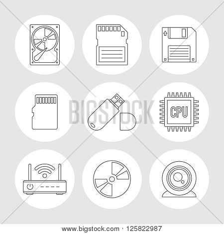 Data storage outline icons. Memory storage devices set