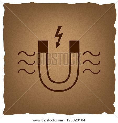 Icon of magnet with magnetic force indication. Coffee style on old paper.