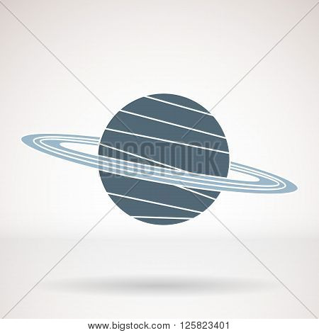 Vector icon for business presentations interface logo. Modern flat design. The planet with the rings Saturn.