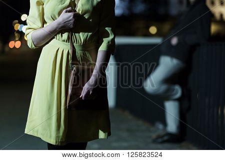 Afraid Woman Walking Alone