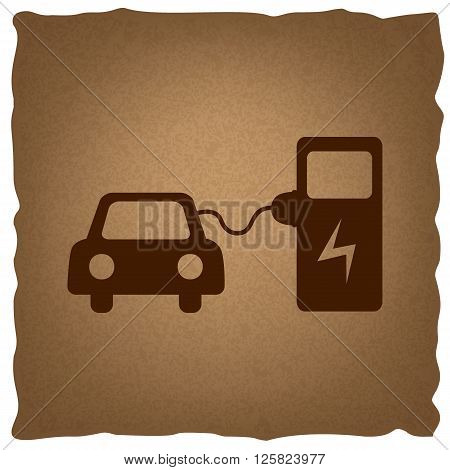 Electric car battery charging sign. Coffee style on old paper.