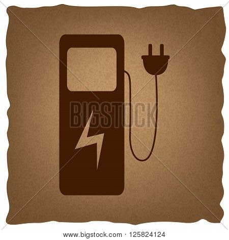 Electric car charging station sign. Coffee style on old paper.