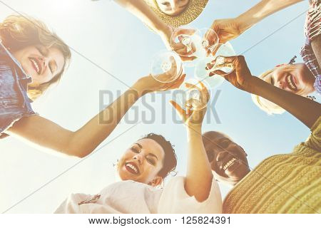 Beach Cheers Celebration Friendship Summer Fun Concept
