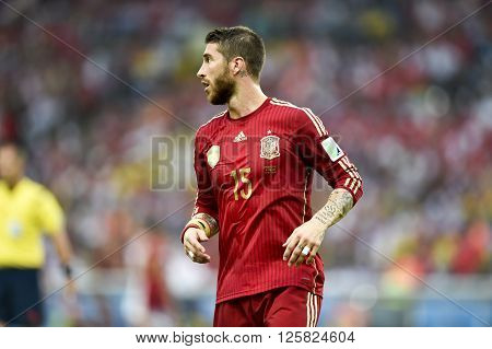 RIO DE JANEIRO BRAZIL - June 18 2014: Sergio RAMOS of Spain during the FIFA 2014 World Cup. Spain is facing Chile in the Group B at Maracana Stadium