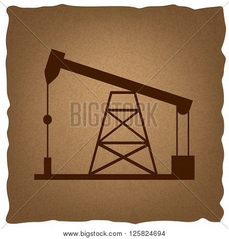 Oil drilling rig sign. Coffee style on old paper.