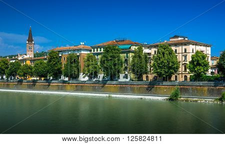 View on River Adige in city of Verona, Italy