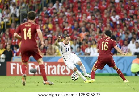 RIO DE JANEIRO BRAZIL - June 18 2014: Marcelo DIAZ of Chile during the FIFA 2014 World Cup. Spain is facing Chile in the Group B at Maracana Stadium