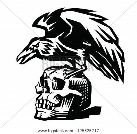 vector Raven and skull on white background