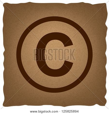 Copyright sign. Coffee style on old paper.