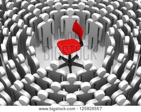Vacancy. An empty office chair surrounded by people symbols. The concept of high unemployment. Isolated. 3D Illustration