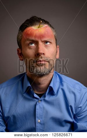 Business man with an apple head , brain food concept