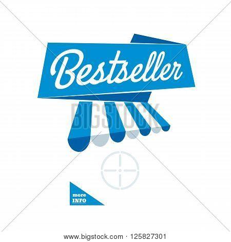 Bestseller - blue ribbon banner vector template. Insert object for promotion.