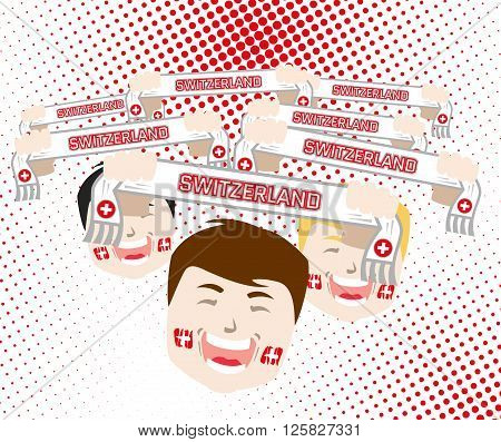 Fans and scarves - switzerland football national team supporters flat design vector illustration