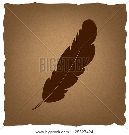 Feather sign. Coffee style on old paper.