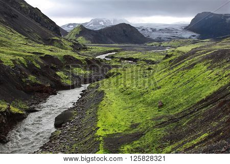 Valley in Iceland. Fantastic nature of the Arctic Circle