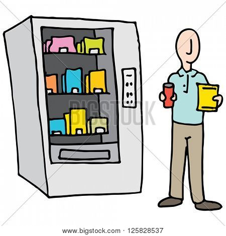 An image of a Man Using Vending Machine.
