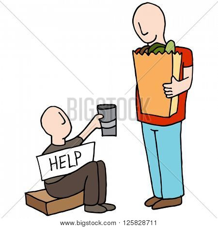 An image of a Beggar Asking for Money From Customer.