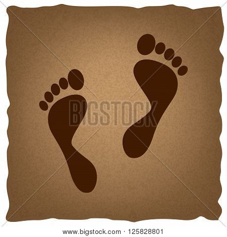Foot prints sign. Coffee style on old paper.