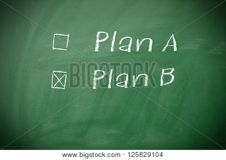 Texture of a blackboard with Plan A and Plan B